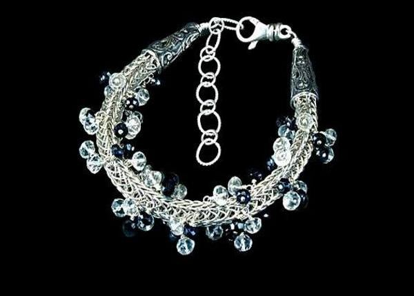 #1292 ~ Fine Silver Woven Rope Bracelet with White Topaz & Black Spinel
