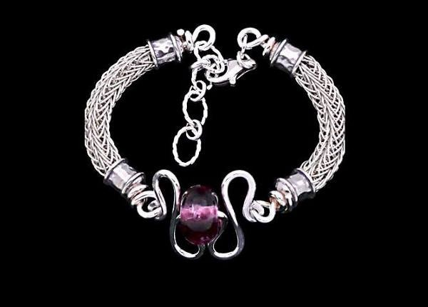 #1295 ~ Sculptured Bracelet of Woven Silver Rope with a Black n' Pink Lamp Work Bead