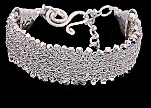 #1425 ~ Flat Woven Fine Silver Rope Bracelet with Hammered Sterling Silver Cones