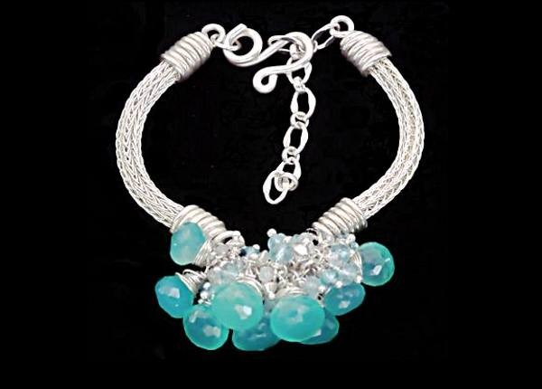 #1449 ~ Bangle Bracelet with Clustered Green Onyx, Aquamarine & Apatite Gemstones