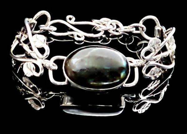 #1525 ~ Mexican Green Fluorite Bezel Bracelet in Argentium Silver
