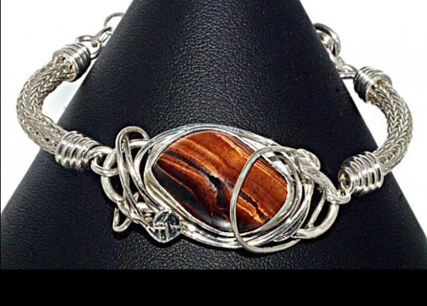 #1552 ~ Tiger's Eye Bracelet in Argentium and Fine Silver