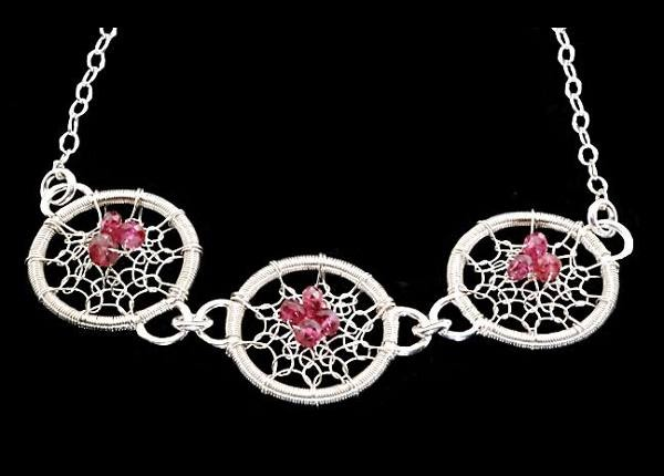#2501 ~ Three-Disk Fine Silver Gossamer Necklace with Red Spinel