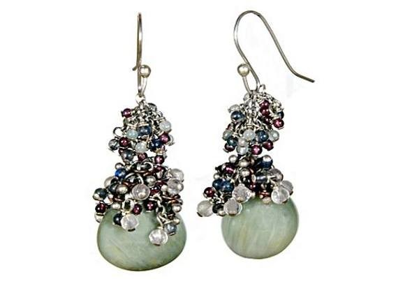 #3301 ~ Cat's Eye Chrysoberyl Drop Earrings with Iolite, Garnet, Aquamarine & Rose Quartz Rounds