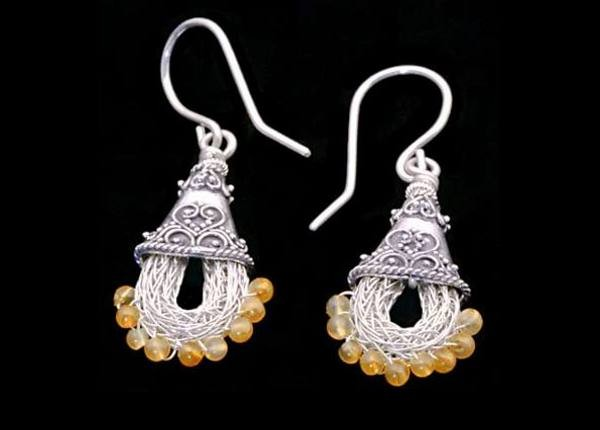 #3406 ~ Silver Rope Earrings in Silver Bali Cones with Carnelian Gemstones