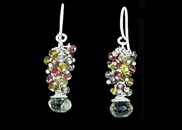 #3442 ~ Bio-Lemon, Tourmaline, Sapphire & Garnet Gemstone Beaded Earrings
