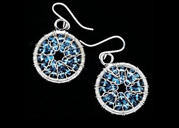 #3508 ~ London Blue Topaz Gossamer Hoop Earrings in Argentium Silver