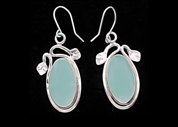 #3524 ~ Mexican Fluorite Bezel Earrings with Leaf Motif, in Argentium Silver