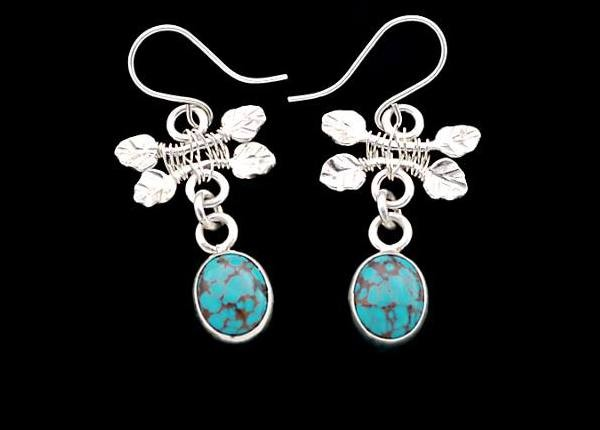 #3552 ~ Turquoise Bezels with Leaf Motif in Argentium & Fine Silver