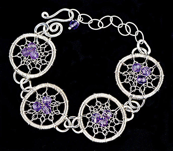 #1495 ~ Silver & Amethyst Trio Bracelet