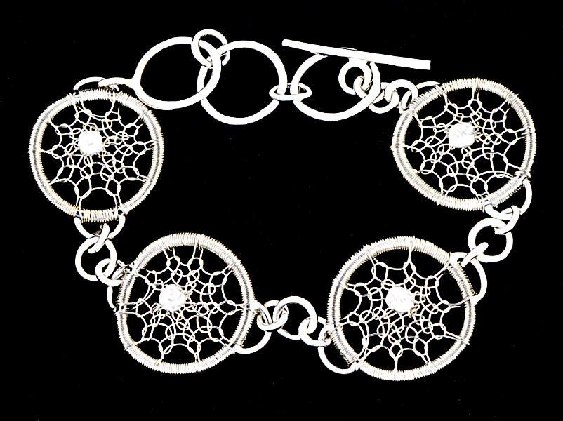 #1496 ~ Gossamer Silver Hoop Bracelet with Silver Beads