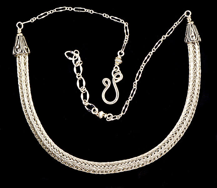 #2448 ~ Single-weave Woven Silver Rope Necklace