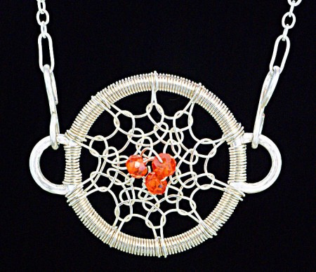 Gossamer Pendant with Orange CZ Gem Stone Beads
