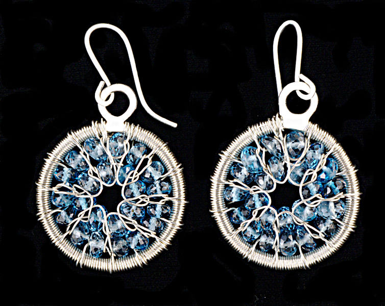 #3508 ~ Spiral Silver & Topaz Earrings