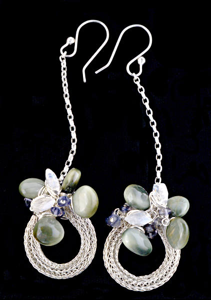 #3311 ~ Wreath Earrings with Cat's Eye Chrysoberyl, Moonstone & Iolite