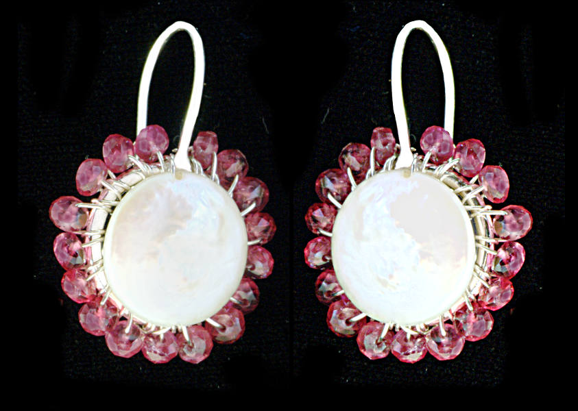 #3461 ~ Red Spinel & Coin Pearl Silver Halo Flower Earrings
