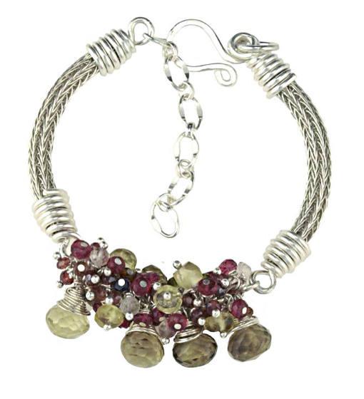 #1430 ~ Lemon Quartz, Sapphire, Spinel, Tourmaline, Rose Quartz Bracelet