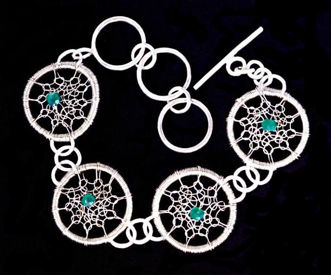 #1498 ~ Silver & Green Onyx Bracelet