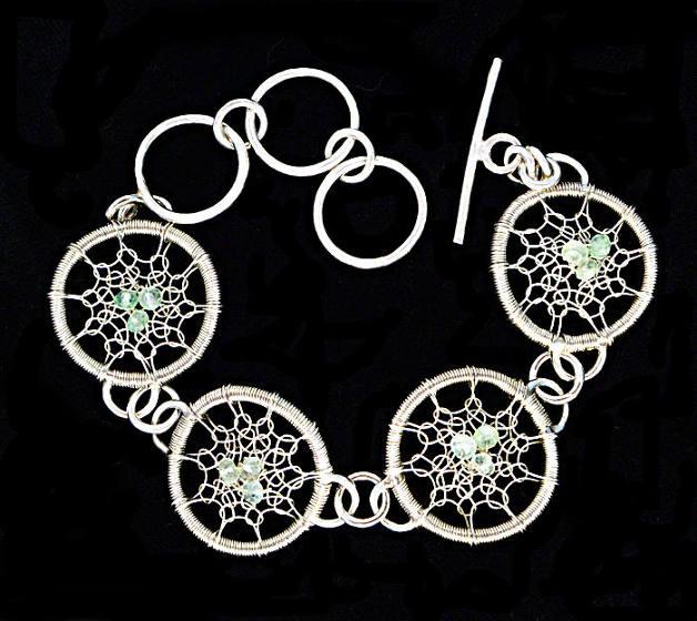 #1499 ~ Silver & Prehnite Bracelet