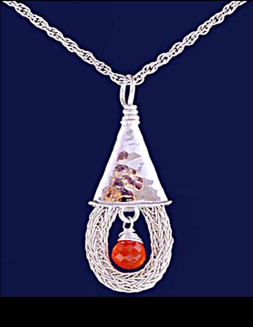 #2404 ~ Carnelian & Woven Silver Rope Pendant
