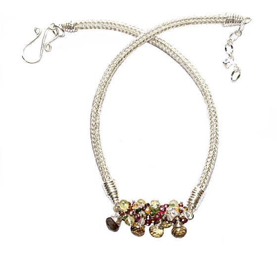 #2436 ~ Lemon Quartz, Sapphire, Spinel, Tourmaline, Rose Quartz Necklace