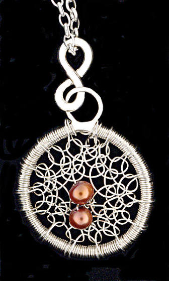 #2478 ~ Silver & Red Pearl Pendant