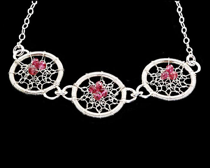 #2501 ~ Silver & Red Spinel Necklace