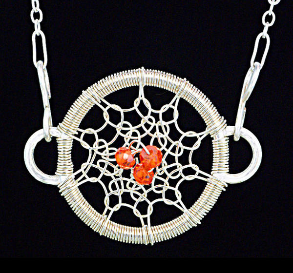 #2504 ~ Silver & Orange CZ Hoop Necklace