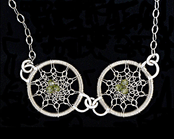 #2507 ~ Silver & Green CZ Necklace