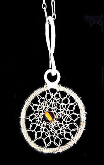 #2511 ~ Gossamer Silver & Amber Hoop Necklace