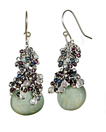 #3301 ~ Chrysoberyl, Iolite, Labradorite Earrings