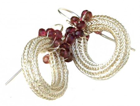 Tourmaline Woven Silver Rope Earrings
