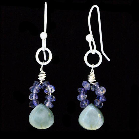 <P ALIGN=Center>#3301 ~ Chrysoberyl, Iolite, Labradorite Earrings