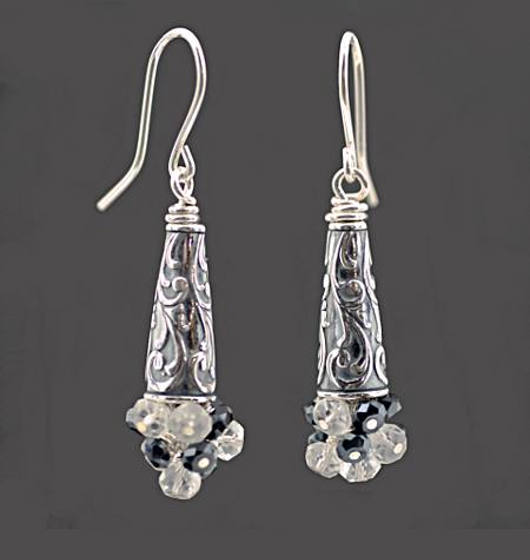 #3427 ~ Black Spinel & White Topaz Earrings