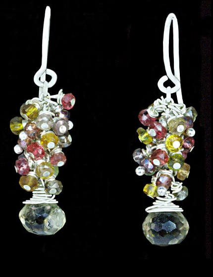 #3442 ~ Lemon Quartz, Sapphire, Spinel Earrings