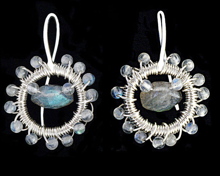#3467 ~ Labradorite & Silver Halo Earrings