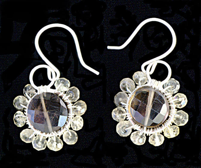 #3470 ~ Smoky & Lemon Quartz Silver Earrings