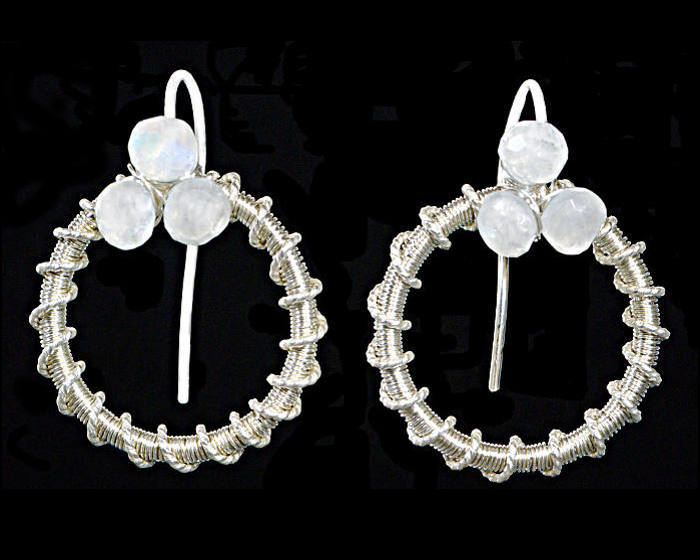 #3474 ~ Fine Silver & Moonstone Hoop Earrings