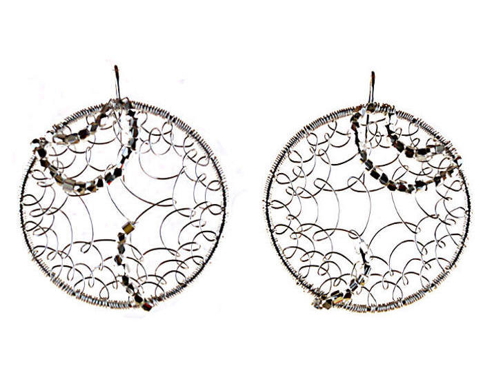 #3475 ~ Silver on Silver Hoop Earrings