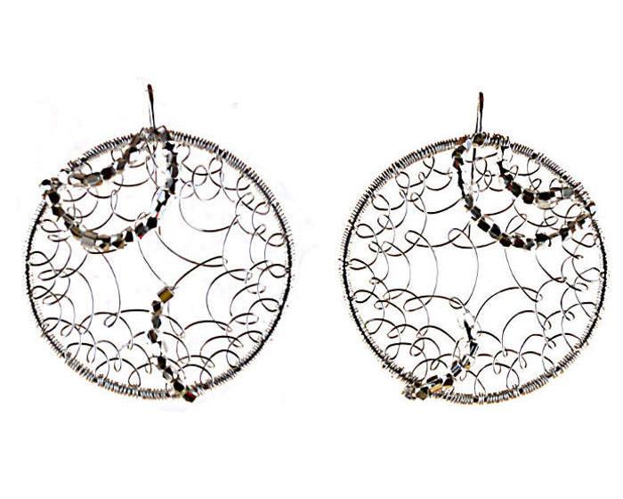 #3475 ~ Silver on Silver Hoop Earrings