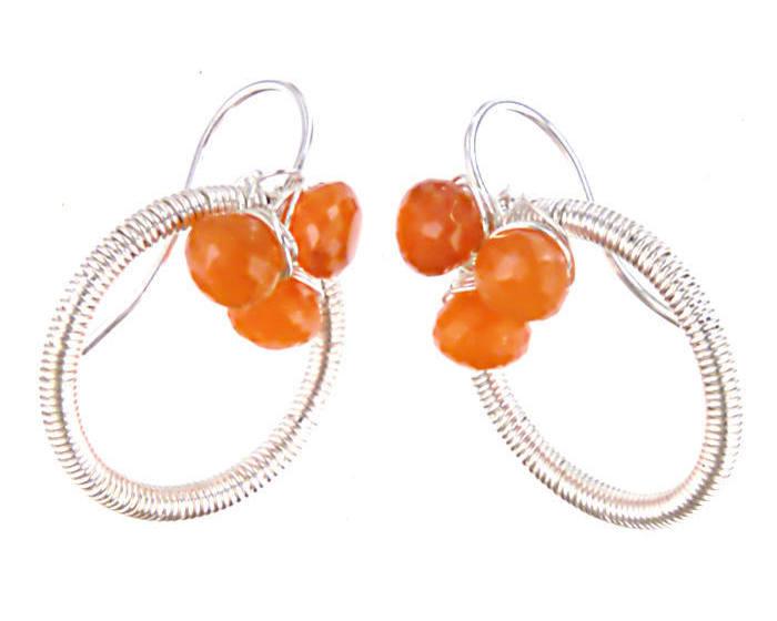 #3481 ~ Carnelian & Silver Hoop Earrings