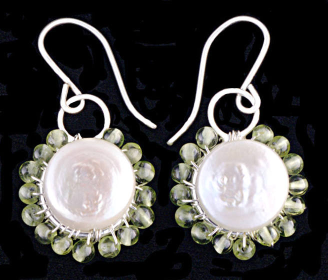 #3482 ~ Peridot & Coin Pearl Silver Earrings
