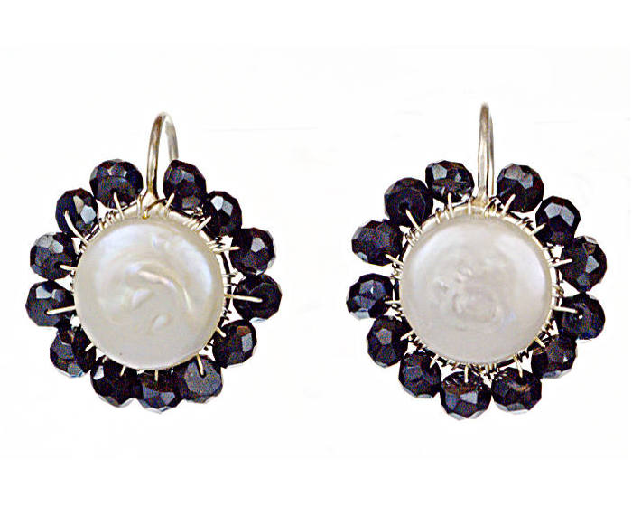 #3483 ~ Black Spinel & Coin Pearl Silver Earrings