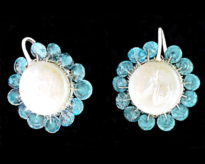 #3484 ~ Coin Pearl & Topaz Silver Earrings