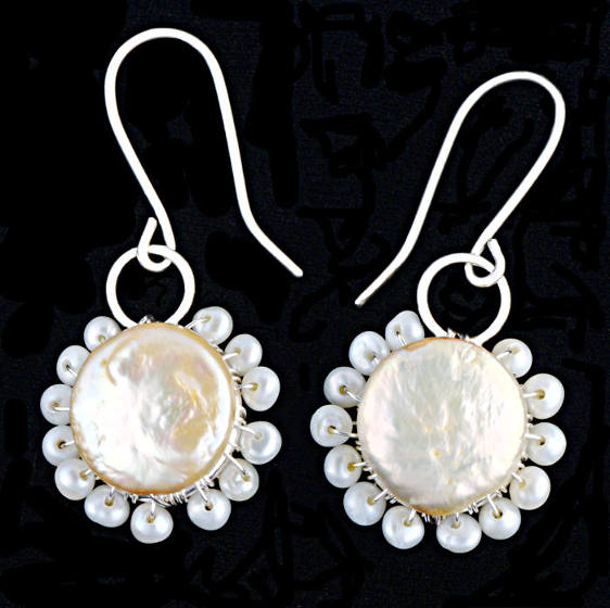 #3485 ~ Silver & Champagne Coin Pearl Earrings