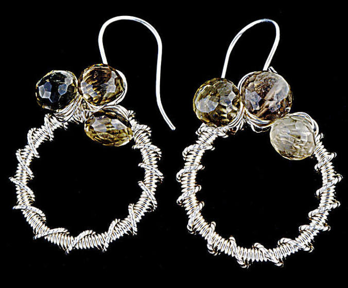 #3486 ~ Fine Silver Bio-Lemon Quartz Hoop Earrings