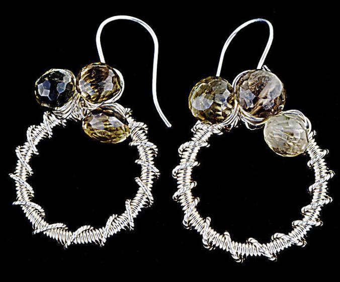 #3486 ~ Fine Silver Bio-Lemon Quartz Hoop Earrings