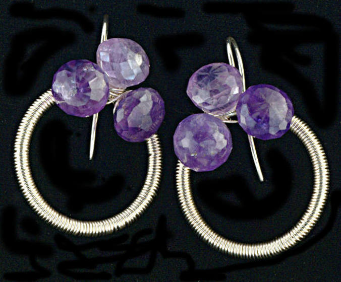 #3538 ~ Light Purple & Fine Silver Amethyst Trio Earrings