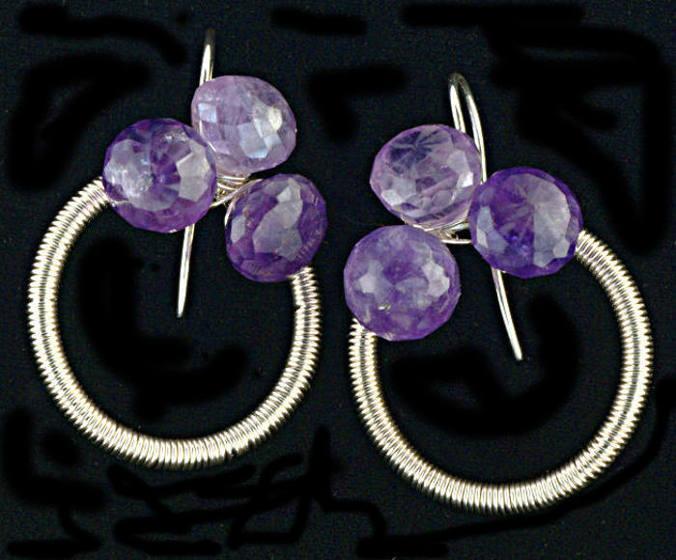 #3538 ~ Light Purple & Fine Silver Amethyst Trio Earrings
