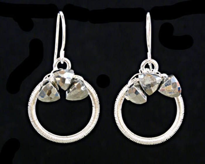 #3539 ~ Silver & Pyrite Hoop Earrings